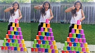 Kids Pretend Play STACKING Game with Giant color Cup Wall