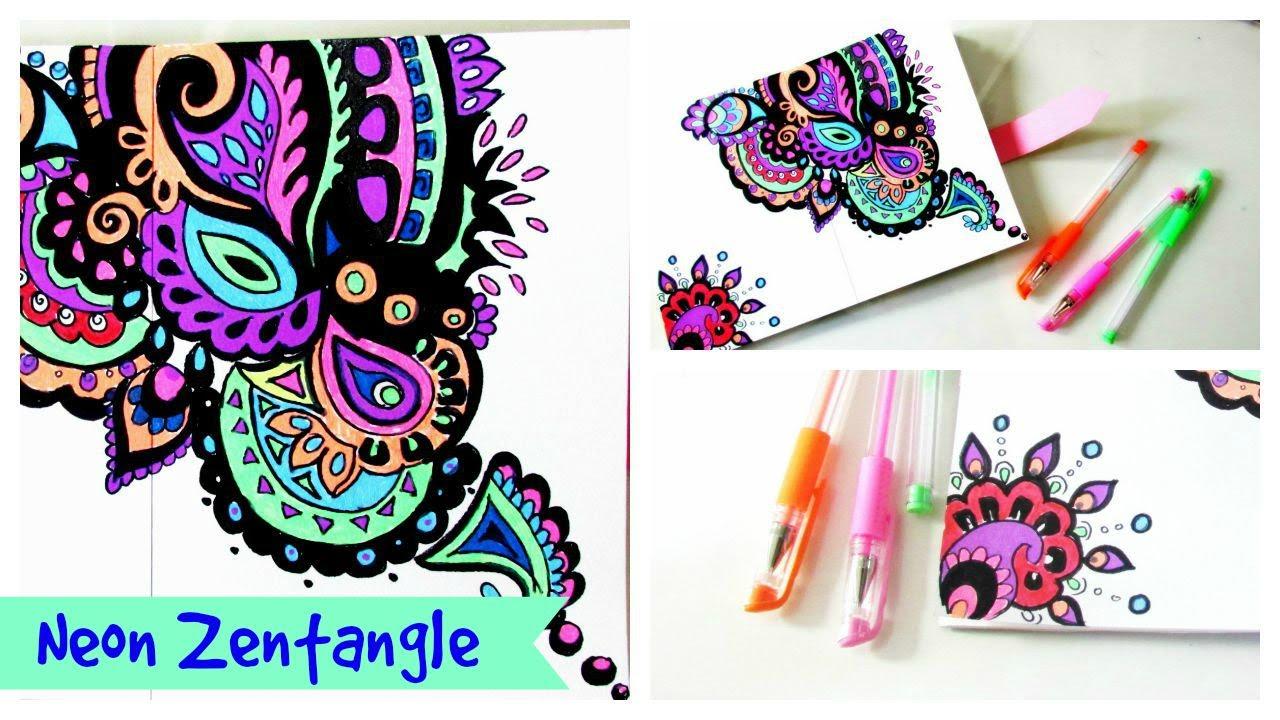 Drawing Zentangle// Neon ZenDoodle - YouTube
