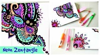 Drawing Zentangle// Neon ZenDoodle
