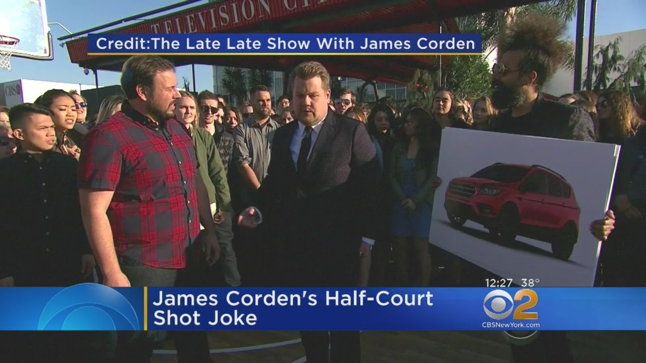 Corden Swishes Half-Court Shot Joke