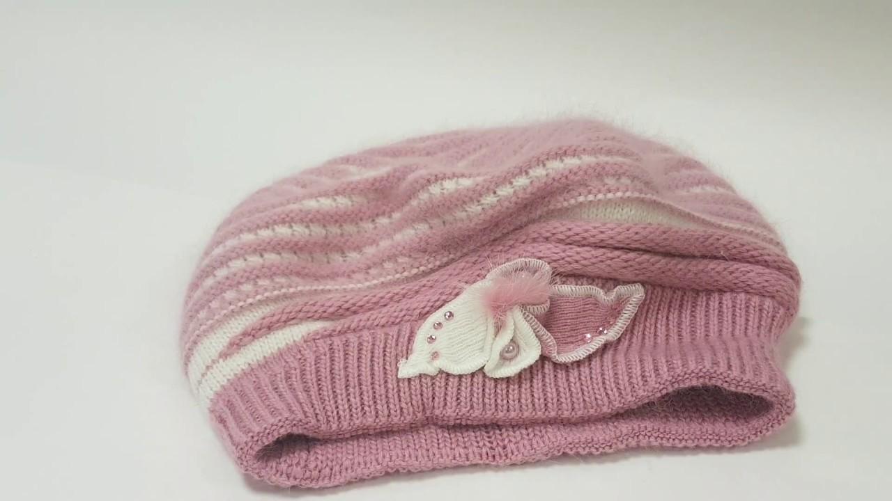 Трикотажная шапка для девочек. Шапка с цветком. Хлопковая шапка .