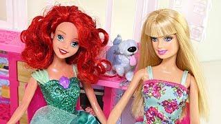 Barbie's Glam Getaway House Disney Princess Ariel Transforming Barbie Doll Playset On-The-Go!