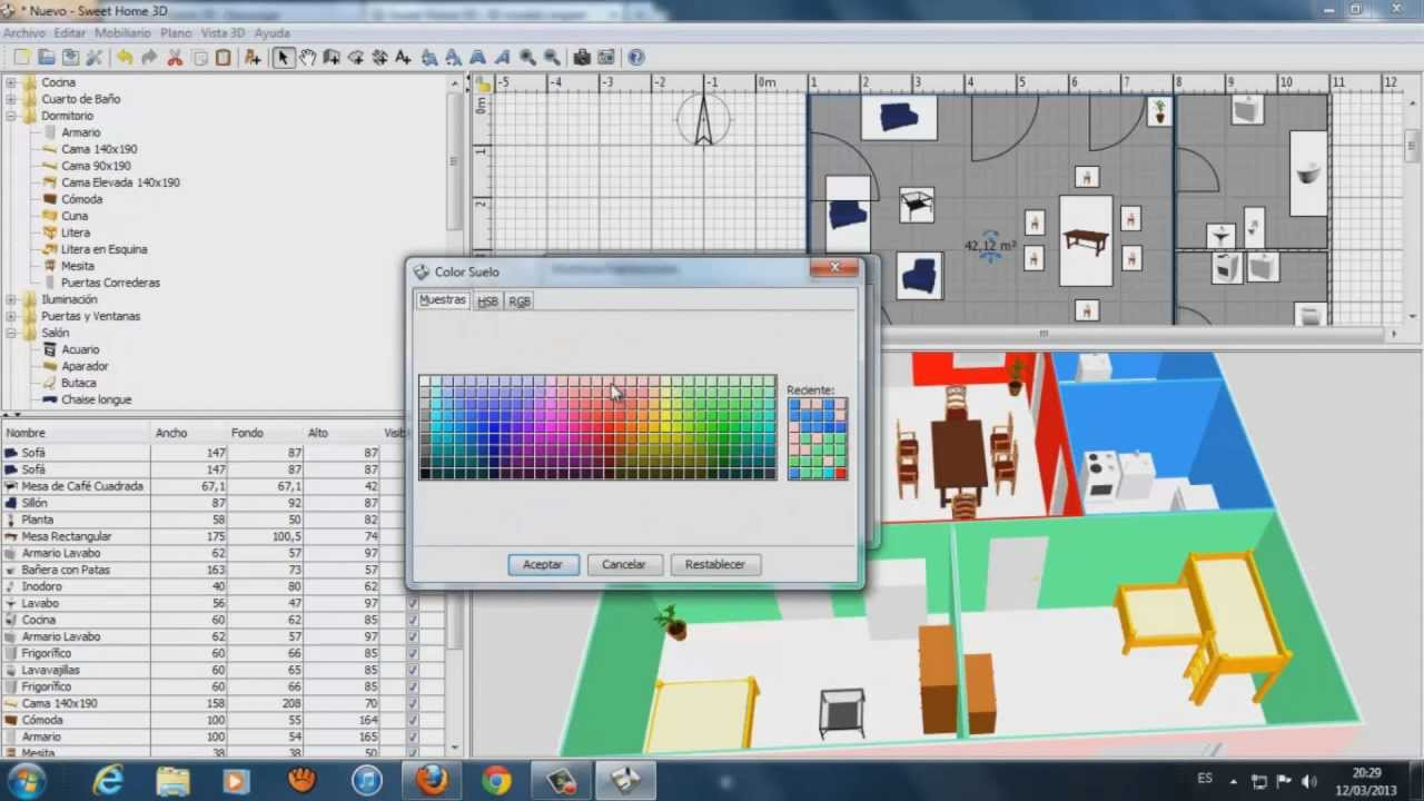 C mo utilizar sweet home 3d tutorial youtube for Sweet home 3d arredamento