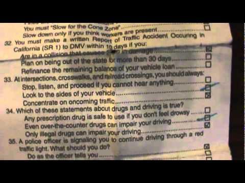 California DMV driver license Written Test Paper Test Part 1