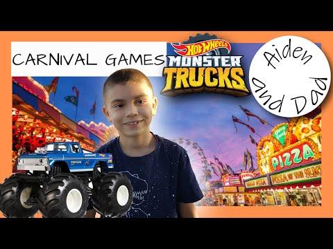 Hot Wheels Monster Trucks Play Carnival Games! |