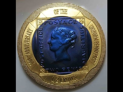 1/2 Crown 2000 Gibraltar TITANIUM+GOLD 160th Anniversary Uniform Penny Post