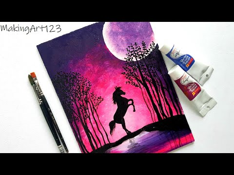 Beautiful Night Scenery Painting- Easy Acrylic Moonlight Painting for Beginners