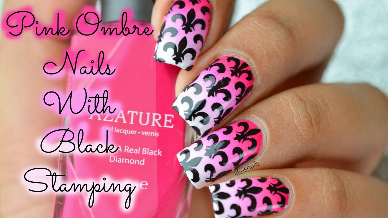 Pink Ombre Nails With Black Stamping using plate BMXL131 ...