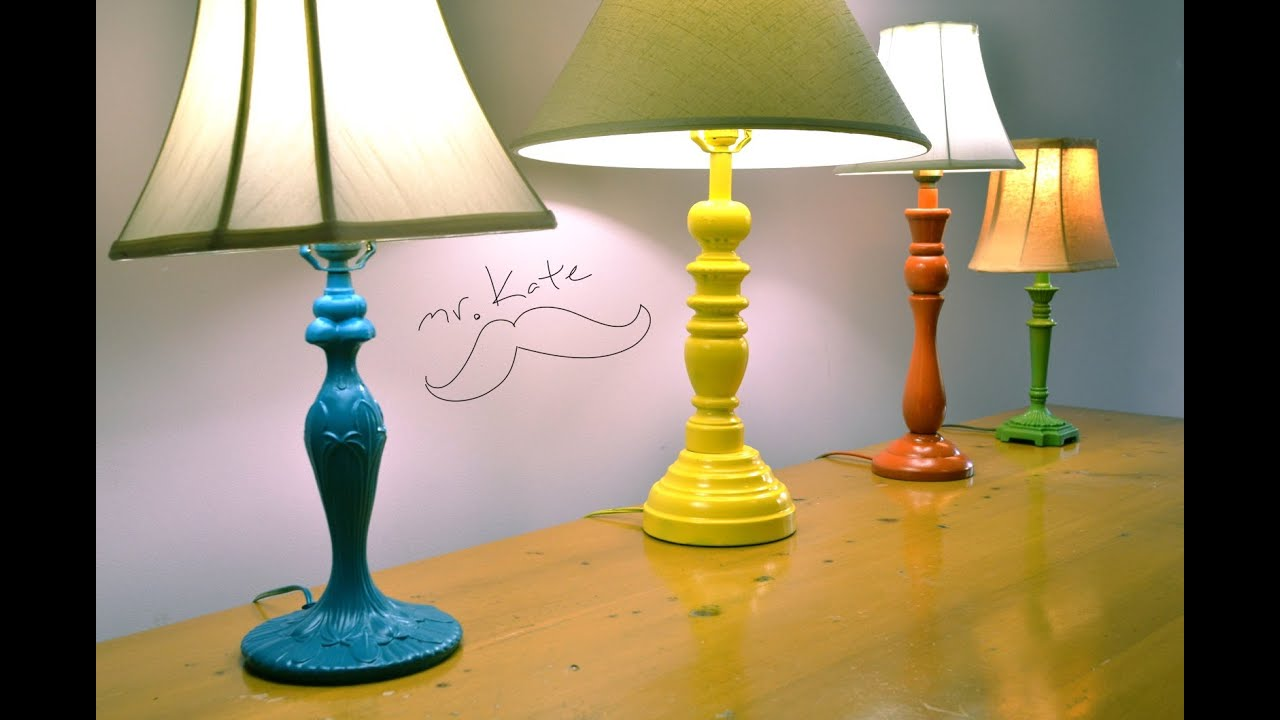 Mr. Kate Quickie: DIY Colorful Thrift Store Lamps