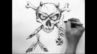 Как нарисовать череп(В этом видео вам подробно и по шагово покажут как нарисовать череп., 2013-07-31T17:09:49.000Z)