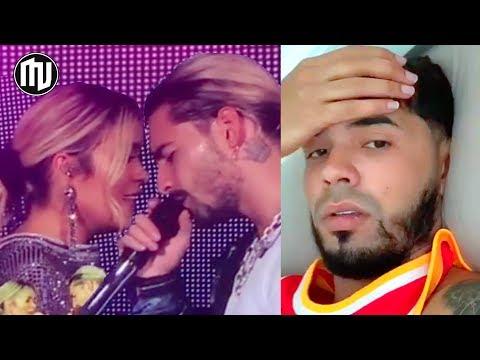 ¡UY! ¡Maluma lanza beso a Karol G en vivo y Anuel se deprime 💔!