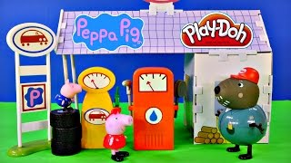 Peppa Pig 12 Piece Buildable Grandad Dogs Garage Playset Play Doh Peppapig Car Wash