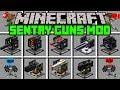 Minecraft SENTRY GUN MOD! | BUILD OP SENTRY GUN ARMY! | Modded Mini-Game