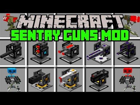 Minecraft SENTRY GUN MOD!   BUILD OP SENTRY GUN ARMY!   Modded Mini-Game