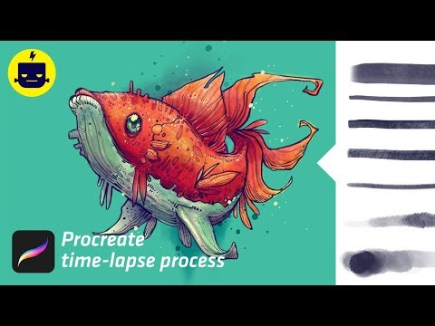 Nautika Fish - Procreate Time-lapse (brush Pack Demo)