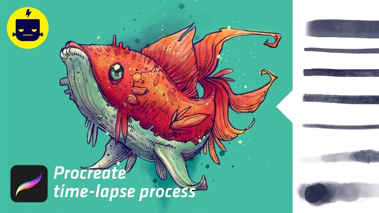 Nautika Fish - Procreate time-lapse (brush pack demo)