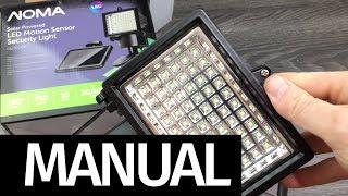 SetUp NOMA Solar Powered LED Motion Sensor Security Light|180 Degree LED Manual Guide