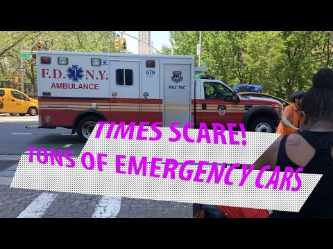 Various emergency vehicles responding to Times Square Crash May 18th 2017