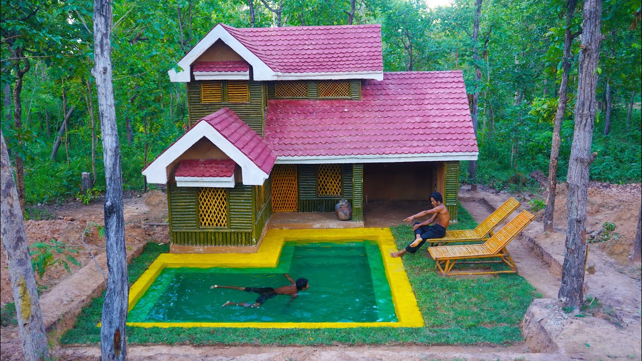 [ Full Video ] 35 Day Build Swimming Pool And House survival the Rainy season in forest