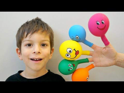Kids Learn Colors with Balloons & Finger Family Nursery Rhymes - Learning Video Compilation