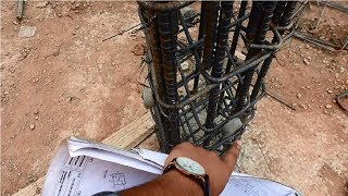 Column reinforcement construction according to drawing plan