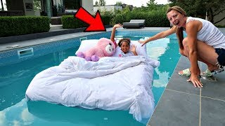 TIANA'S BED IN OUR SWIMMING POOL PRANK!!