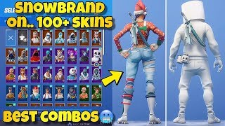 "NEW ""SNOWBRAND"" BACK BLING Showcased With 100+ SKINS! Fortnite Battle Royale - NEW SNOWSTRIKE SKIN"