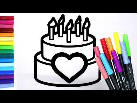 Colouring Glitter Cake Coloring Pages LEARN COLORS