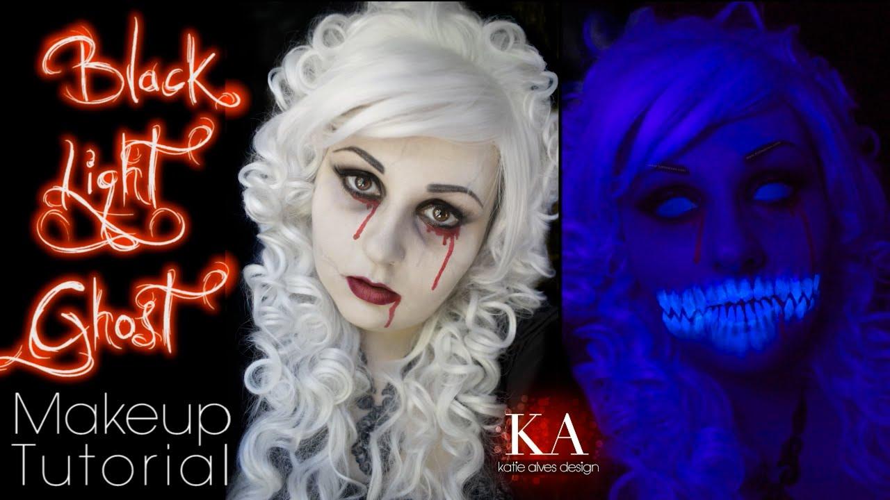 Black Light Ghost Halloween Makeup Tutorial - YouTube