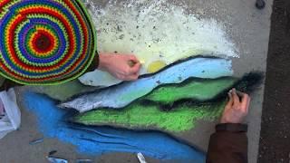 Рисунок на асфальте из воображения Draw landskape on asphalt art chalk(Рисунок на асфальте в моем городе, из воображения, видео сейчас добавлю. Попробовал вернуться к начальным..., 2014-03-30T13:42:18.000Z)
