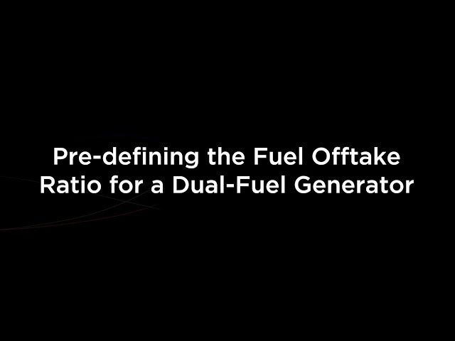 Pre-defining the Fuel Offtake Ratio for a Dual-Fuel Generator
