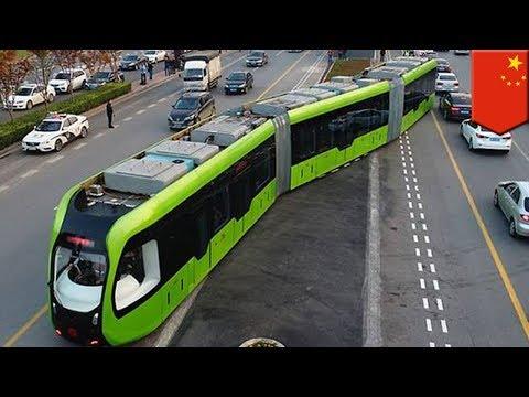 Китай. Смарт-трамвай без рельсов. Транспорт будущего?