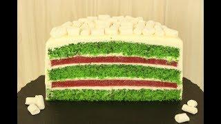 ТОРТ ИЗУМРУД ✧Шпинатный Торт с Клубничным Конфи✧Spinach Cake with Strawberry✧Ispanaklı Pasta Tarifi
