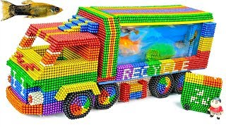 Most Creative - Build Recycle Truck Aquarium With Magnetic Balls (Satisfying) - Magnet Balls