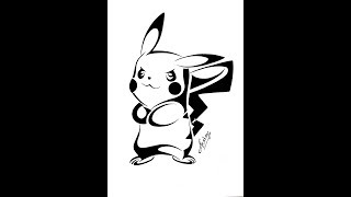 How to draw Pikachu From Pokemon || Tribal Tattoo Design Style || Art Maker Akshay