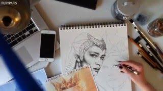 Fast drawing Ravenna and Freya (Charlize Theron and Emily Blunt)/ Szybki rysunek królowych sióstr
