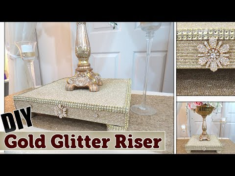DIY Gold Glitter Textured Display Riser