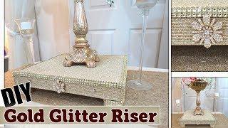 DIY Gold Glitter Textured Display Riser