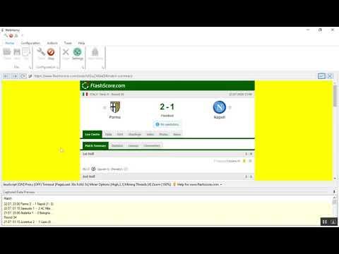 Scraping flashscore.com goal highlights video URLs using WebHarvy