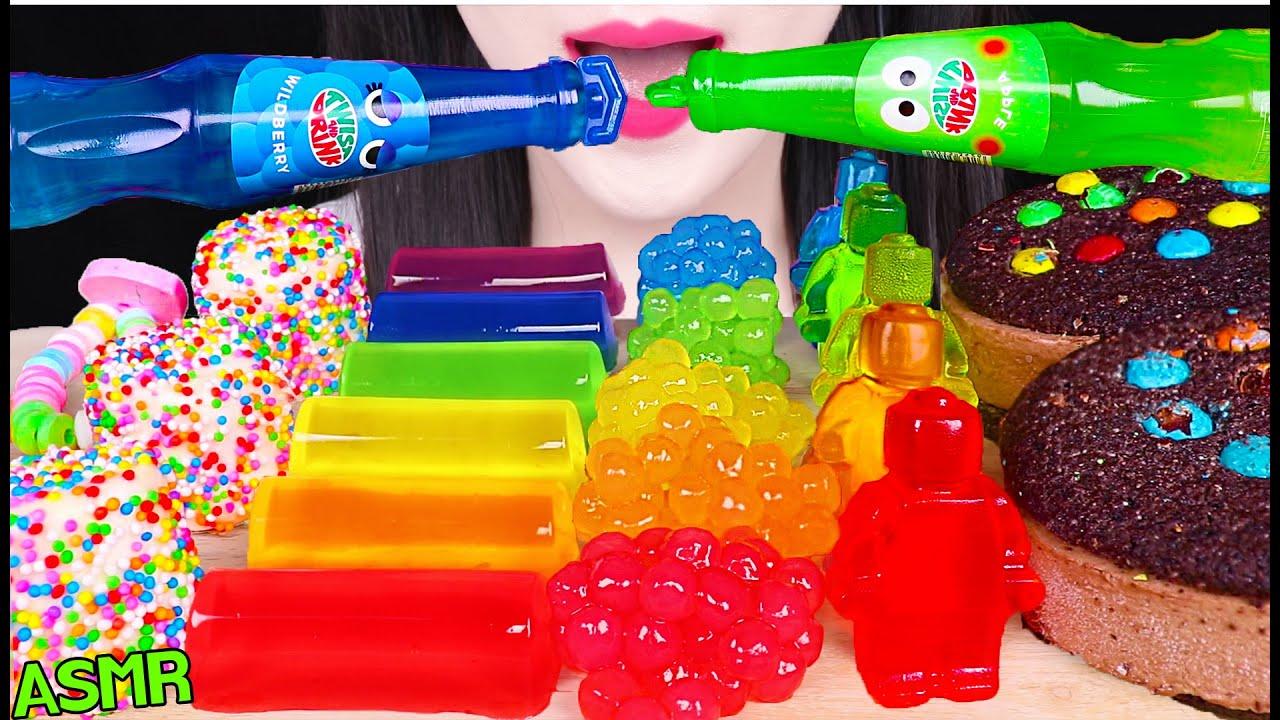 ASMR RAINBOW FOODS *TWIST DRINK, RAINBOW BOBA, LEGO MAN JELLY 트위스트 음료, M&M'S 아이스크림 먹방 EATING SOUNDS