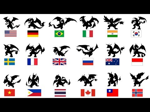 Charizard In 18 Different Countries ( Flag Style ).