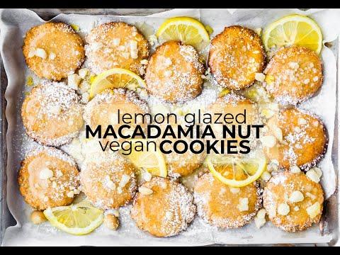 Lemon Glazed Macadamia Nut Cookies {vegan, paleo option}