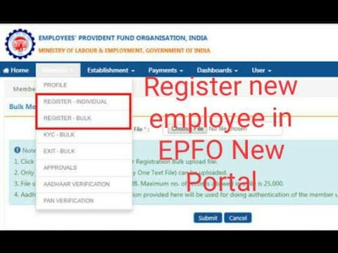 How register new Employee in EPFO/ UAN - YouTube