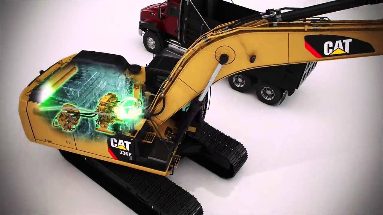 cat 336e h hydraulic excavator powerflow animation youtube