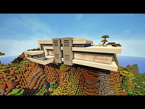 Minecraft maison moderne dans une montagne by makapuchii for Maison facile minecraft