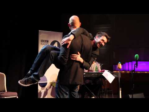 Mark Watson in the arms of a Gladiator (BBC Radio 4)