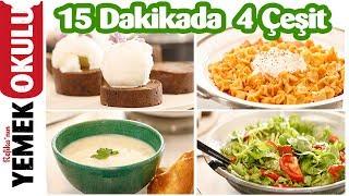15 Dakikada 4 Çeşit Yemekle İftar Sofrası | Tavuk Çorbası, Mantı, Salata ve Mozaik Pasta Tarifleri