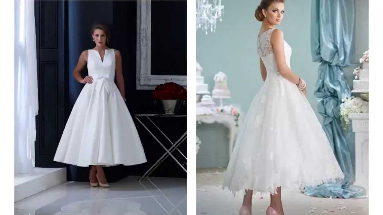 Tea Length Wedding Dress With Blue Shoes