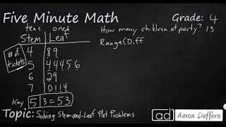 4th Grade Math Solving Stem-and-Leaf Plot Problems