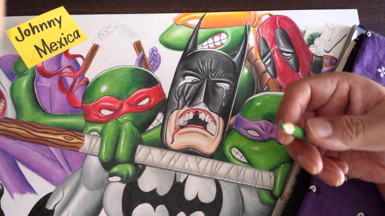 Coloring comic book characters with color pencils batman and turtles ...